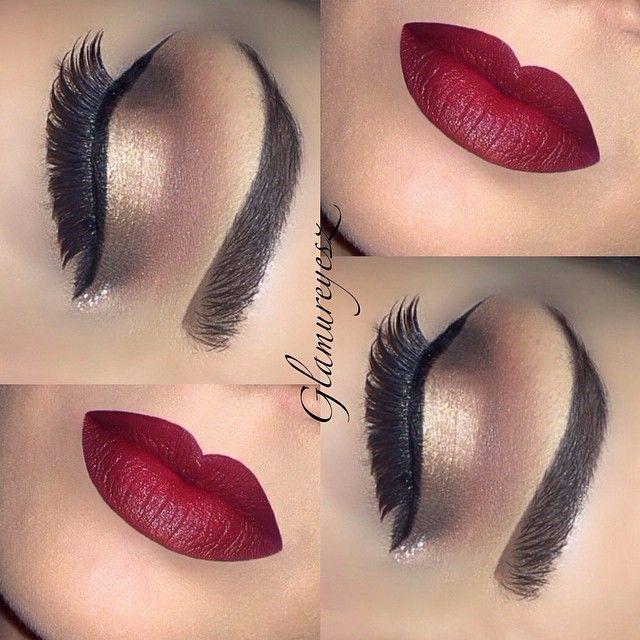 Bold red lip & Gold subtle smokey eye