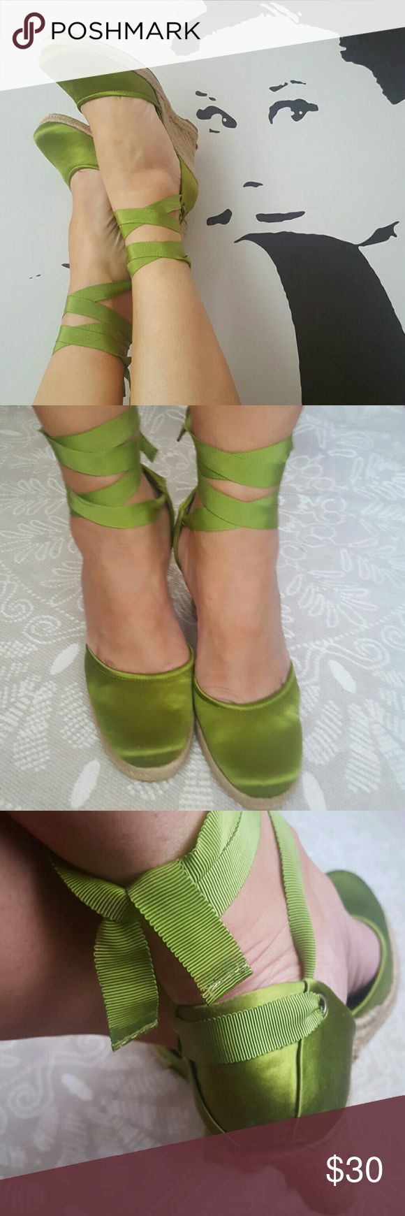 "🐸Wedge Sandals Beautiful lime green espadrilles . Satin fabric worn  once.4"" heels. Nine West Shoes Espadrilles"