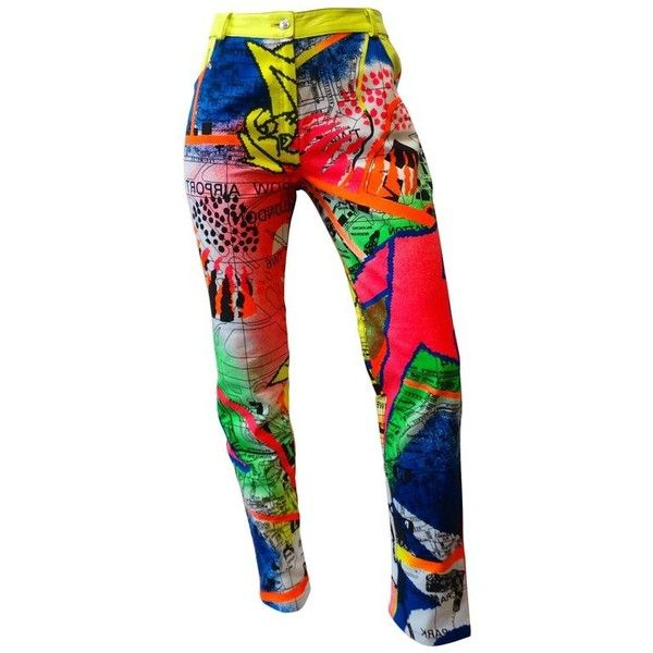Preowned Christian Dior Neon Graffiti Pants, 1990s ($1,100) ❤ liked on Polyvore featuring pants, pink, white faux leather pants, faux leather pants, straight pants, neon pants and high waisted trousers