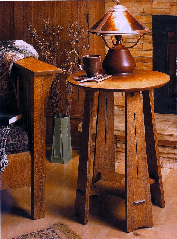 Roundtop Craftsman Table. Take a look at this table, and I know you'll find something to admire – whether it's the highly figured quartersawn white oak, the decorative slots in the tapered legs, or the dramatic grain patterns of the round tabletop and the cross-shaped shelf. Approx. 30″ tall, the top is 22″ round.Approx. 30″ tall, the top is 22″ round.--- uhh yeah i like it