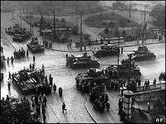 Aerial view of Soviet tanks on streets of Hungary 1956