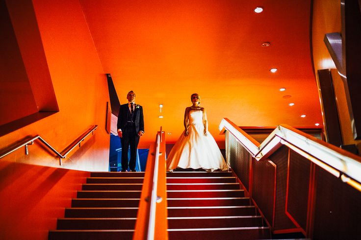 The Lowry is the perfect venue for unique wedding photography opportunities.  Photography by Andy Wardle. #contemporaryweddingvenue #uniqueweddings #Manchesterwedding