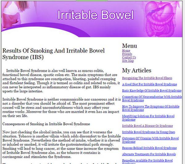 Irritable Bowel Syndrome Amazon Adsense Site