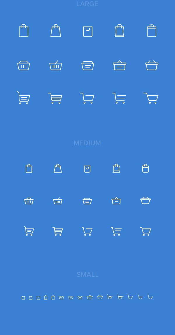 Decided to make my own set of shopping cart icons and share with the community. There are 3 different sizes, but everything is vector (you know those creepy half-filled pixels after resizing even vector shapes in Photoshop). Feel free to use and share.