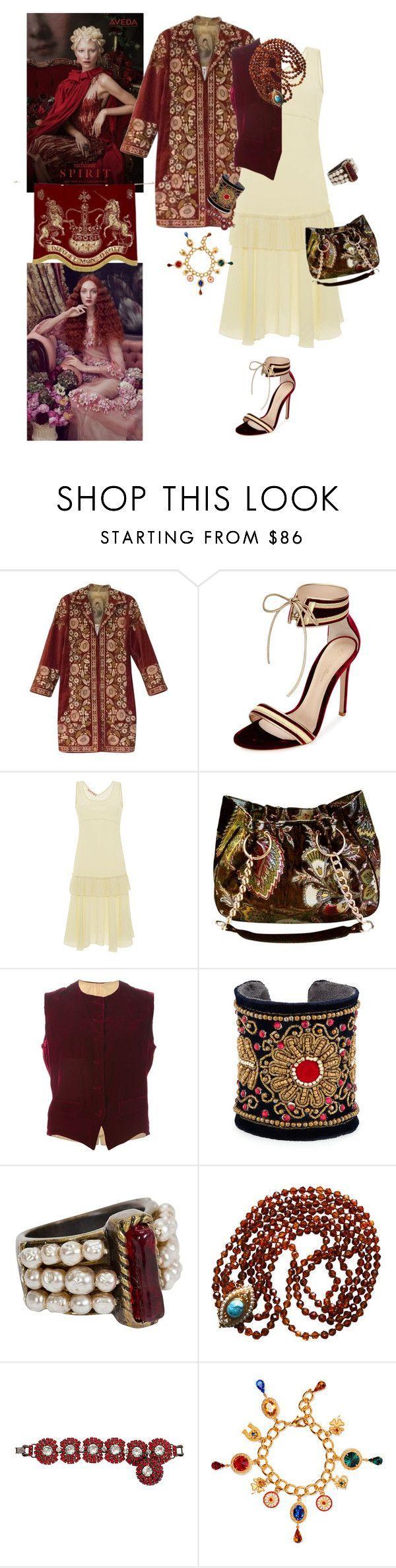 """Royal Velvet"" by taci42 ❤ liked on Polyvore featuring Aveda, Biya, Gianvito Rossi, Oscar de la Renta, Glenda Gies, Jean-Paul Gaultier, Chamak by Priya Kakkar, Chanel and Dolce&Gabbana"