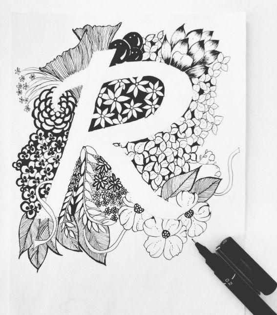 Zentangle inspired artwork alphabets