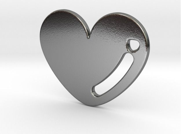 Polished Silver Love Heart Pendant 3d printed