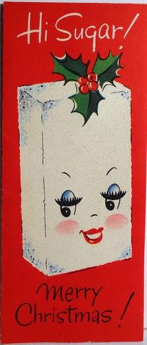 A. (Cube)  1950s Sugar Cube Vintage Christmas Card