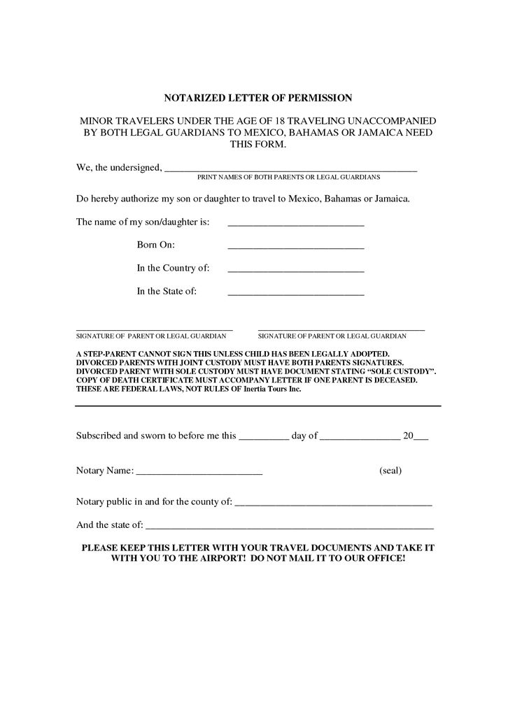 travel consent letter for minor doc parental work authorization letters