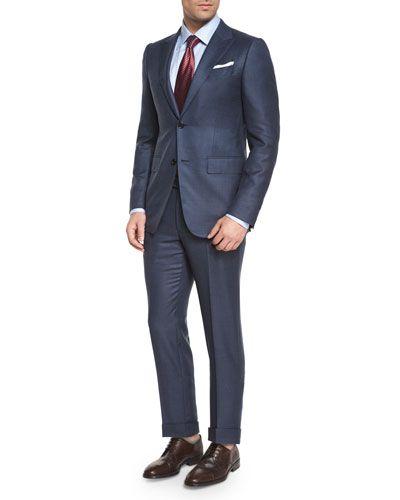N3G40 Ermenegildo Zegna Trofeo Birdseye Two-Piece Suit, Blue
