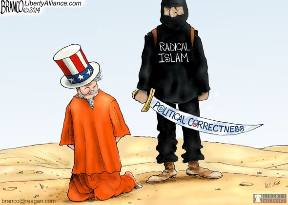 """Right on, except there is no such thing as """"radical Islam""""  so this cartoon is still being politically correct."""