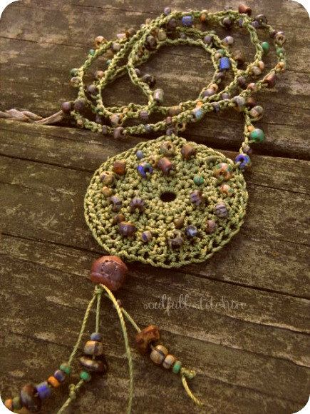 Beaded Mandala Necklace Long Crochet Beaded by SouLfuLLStitchin, $18.00