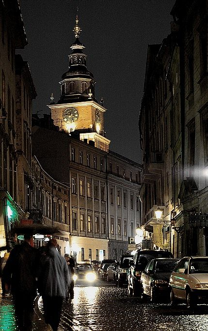 Nighttime in front of the Bracka Apartments, Krakow, Poland.