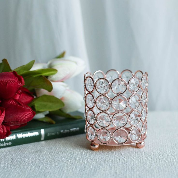 4″ Tall Blush | Rose Gold Round Crystal Beaded Votive Tealight Crystal Candle Holder