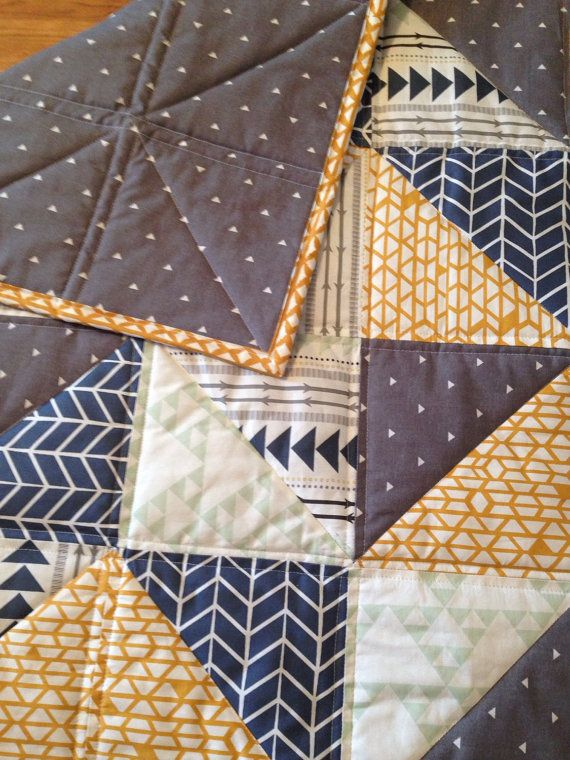 aztec baby quilt, mustard and navy nursery, grey nursery, toddler quilt