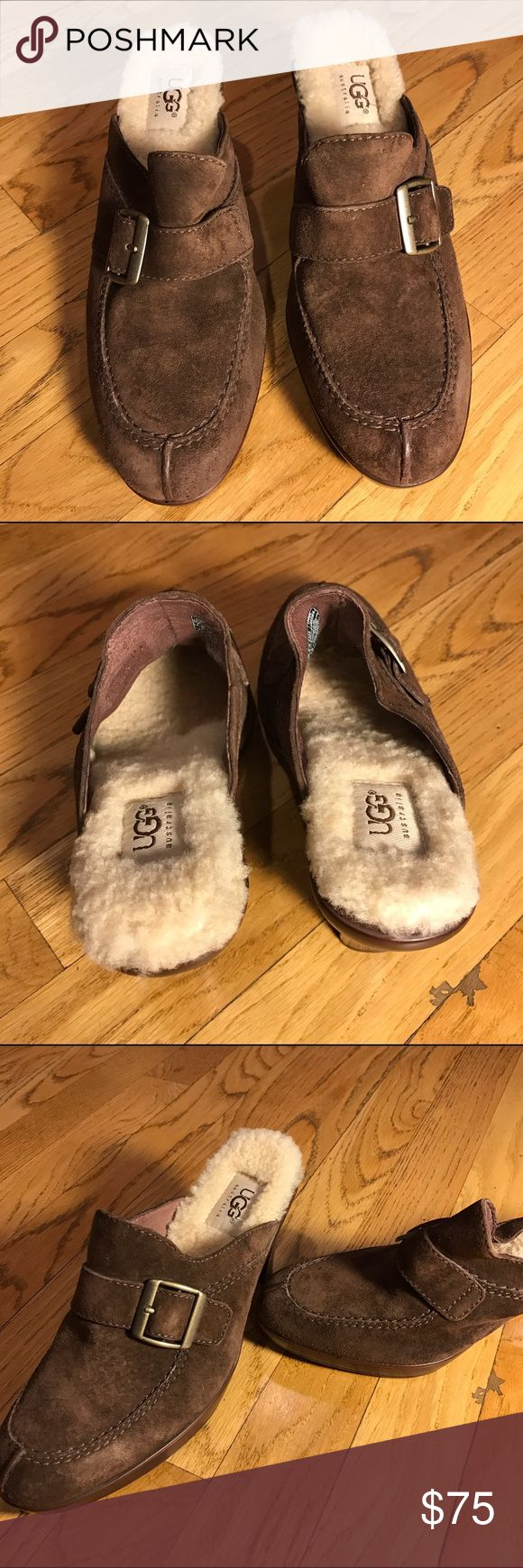 Ugg Shoes These shoes look brand new but have a minor scuff. I am selling for a client. So I don't know the background The bottoms and fur look like they have never been worn  brown suede UGG Shoes Mules & Clogs