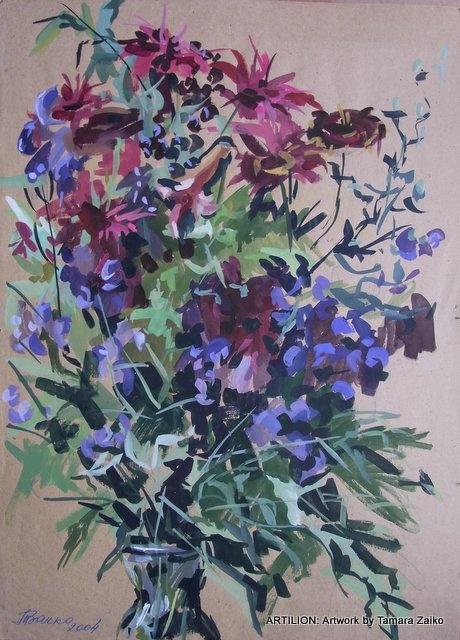 Tamara Zaiko. Irises. Monarda and aconite. Subject: #art #artist #artwork #watercolor #painting #flowers. Тамара Заико. Монарда и аконит. Бумага, акварель. Темы: лето, цветы.