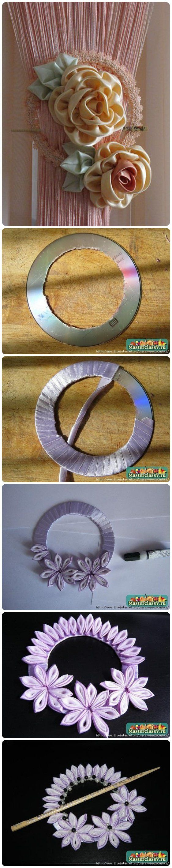 DIY curtain knot with Old CD