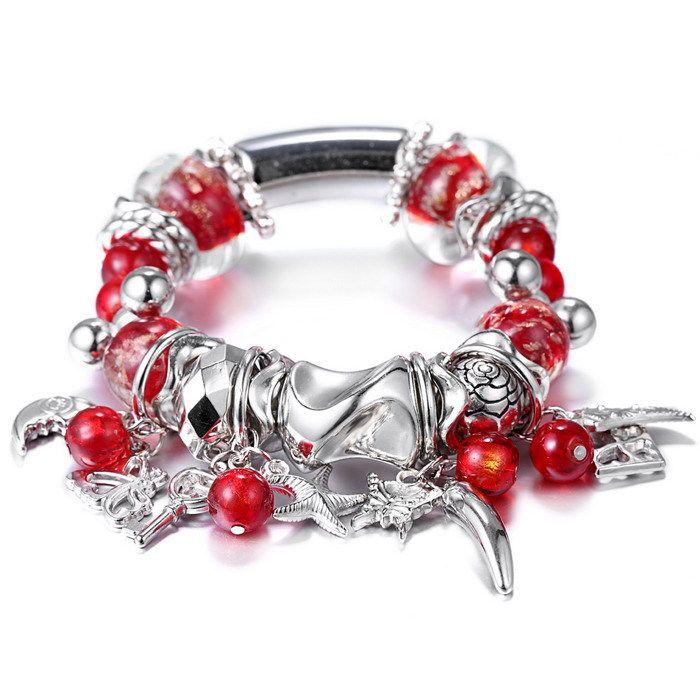 Fascino del polsino bracciali per le donne margherite classico perle di murano dei monili del braccialetto gioielli fortunato stringa rossa perline di murano rosso (China (Mainland))