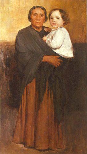 MUJER Y NIÑO,  Óleo sobre Tela 72 x 40 cm Pinacoteca de la Universidad de Concepción