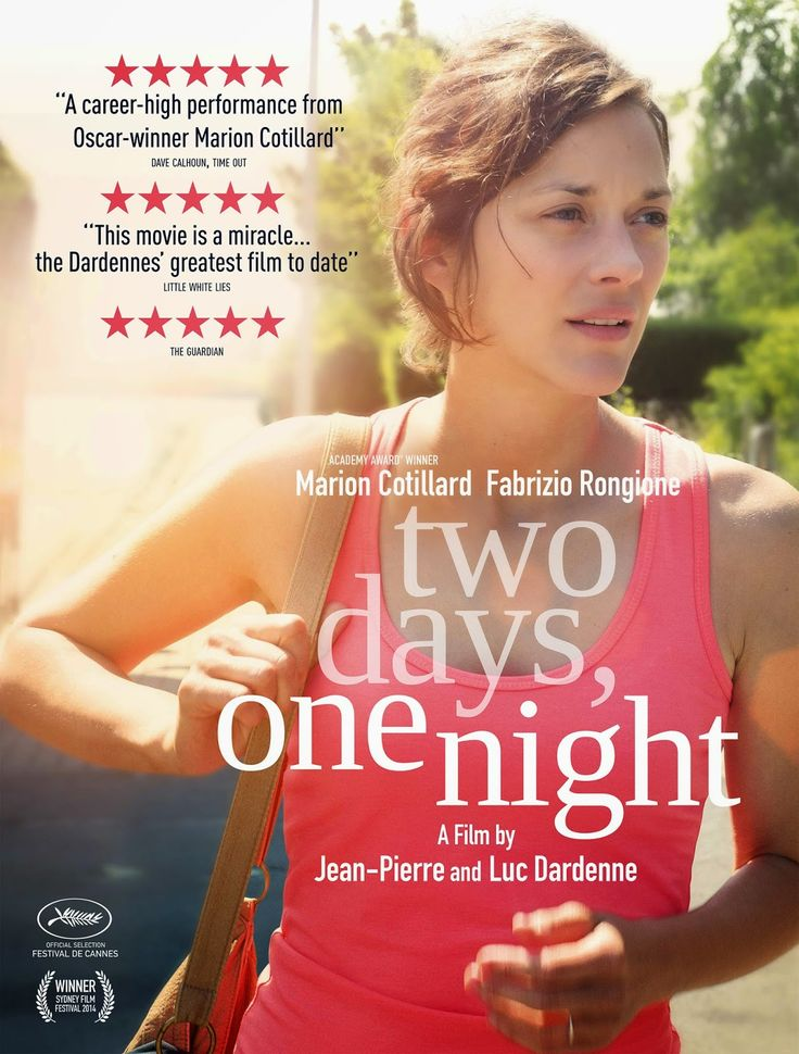 """""""Two days, one night"""", 2014.""""Deux jours, une nuit"""" (original title). Directed by Jean-Pierre & Luc Dardenne. With """"Two days, one night"""" the Dardennes have turned a relevant social inquiry into a powerful statement on community solidarity, once again delivering a film that is simple on the surface but alive with both compassion and wisdom."""
