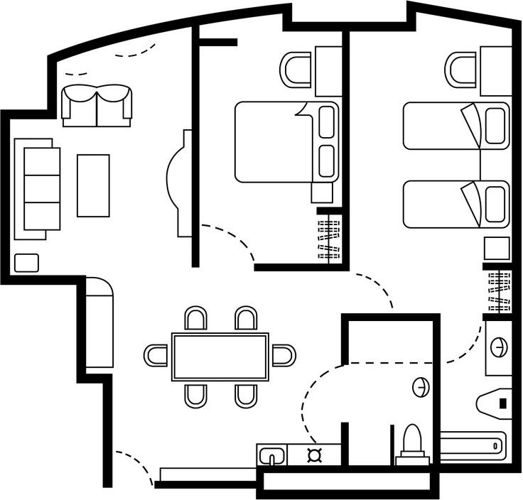cosmo hotel hong kong two bedroom suite floor plan