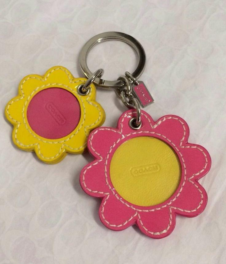 Coach Patent Leather Daisy Flower Photo Frame Keychain Keyfob 93125 New