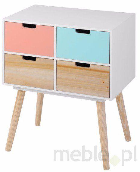 Komoda drewniana - 4 kolorowe szuflady, M3 - Meble