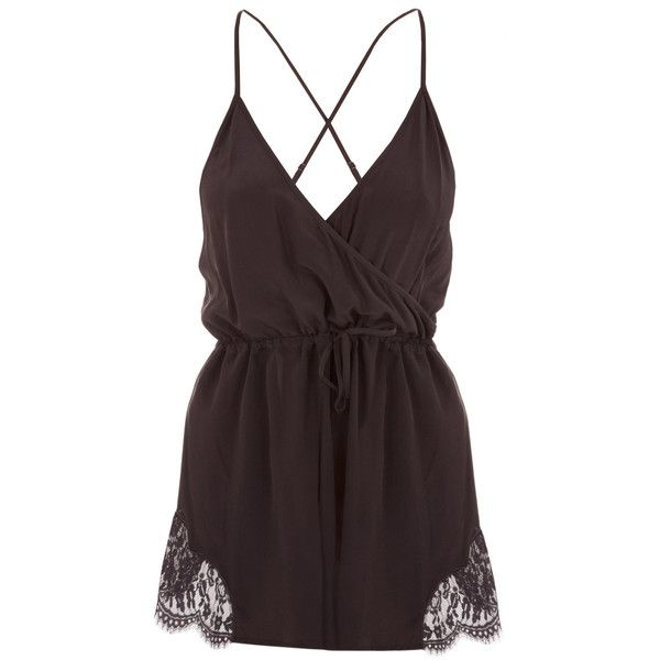 Keepsake Haunted Paradise Romper ($200) ❤ liked on Polyvore featuring jumpsuits, rompers, lace romper, lace rompers, playsuit romper, red lace romper and red romper