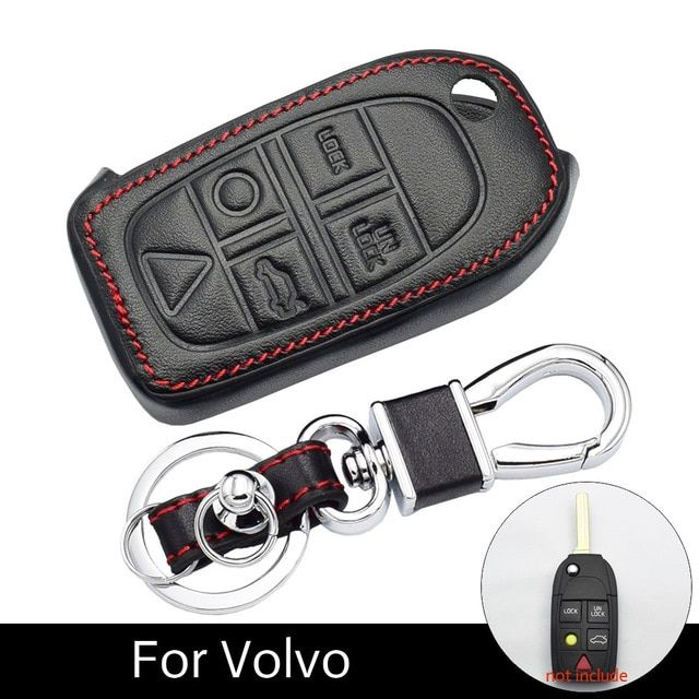 Atobabi Car Key Case 5 Buttons Leather Key Bag Keychain Accessories For Volvo S80 S60 V50 V70 Xc70 Xc90 Remote Fob Shell Cover Car Accessories Volvo Volvo S80