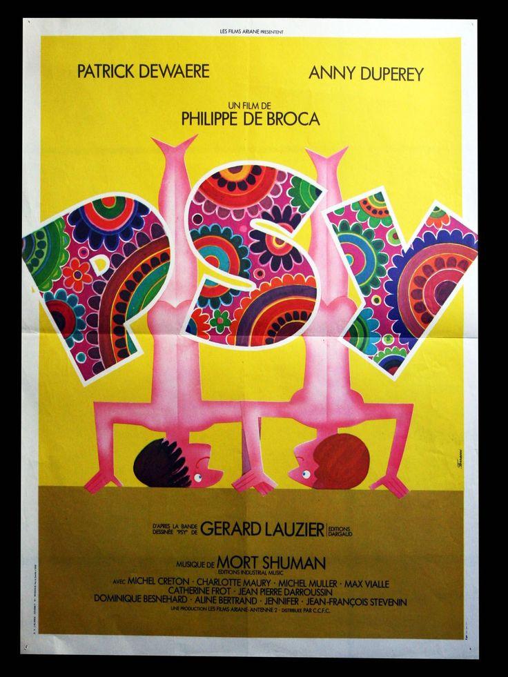 Affiche Cinéma Pliée 54x40cm - Psy (1980) Philippe De Broca - Patrick Dewaere, Anny Duperey, Jean-Pierre Darroussin, Jean-François Stévenin, Catherine Frot, Michel Creton (Illustration Ferracci)