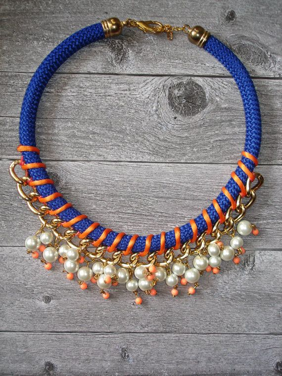 Peach Statement  Rope Necklace / Rope Necklace / by Candybarrr, €18.00