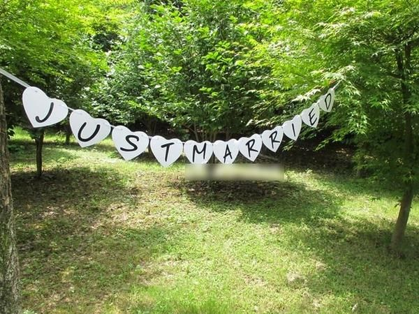 Just Married White Heart Banner - 1.8m