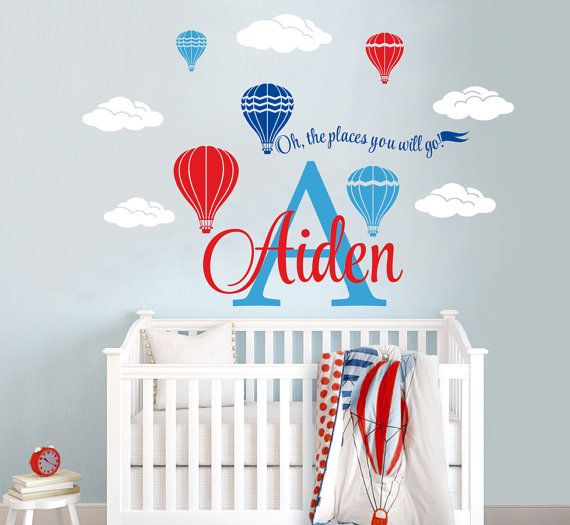 Hot air balloons personalized name custom initial vinyl wall decal sticker for nursery boys girls room or playroom