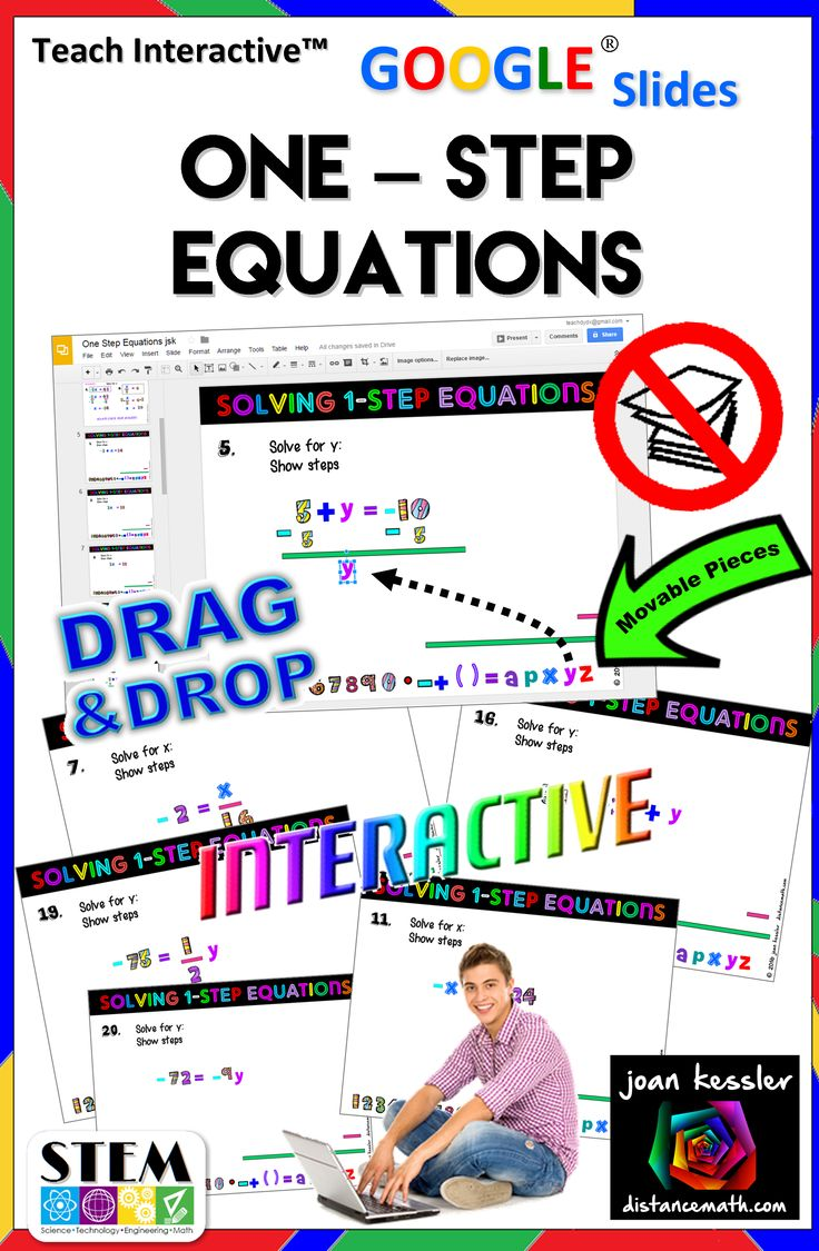 Solving One – Step Equations has never been this much fun! On each of twenty –four slides your students solve the equation by dragging the fun numbers and symbols onto the workspace. Each variable, exponent, and symbol (like + or -) has its own color helping students understand additive and multiplicative inverses in a new innovative way.