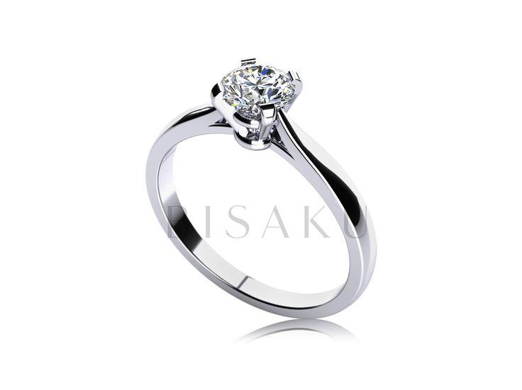C2 Nádherný zásnubní prsten klasického typu, který zdobí čtyři krapny pevně obepínající solitérní kámen. Tvar prstenu je příjemně zaoblený a velmi komfortní. Tento model je ideální pro pozdější kombinaci se snubním prstenem, vzhledem k jeho pravidelnému tvaru a vyšší korunce. #bisaku #wedding #rings #engagement #svatba #zasnubni #prsteny