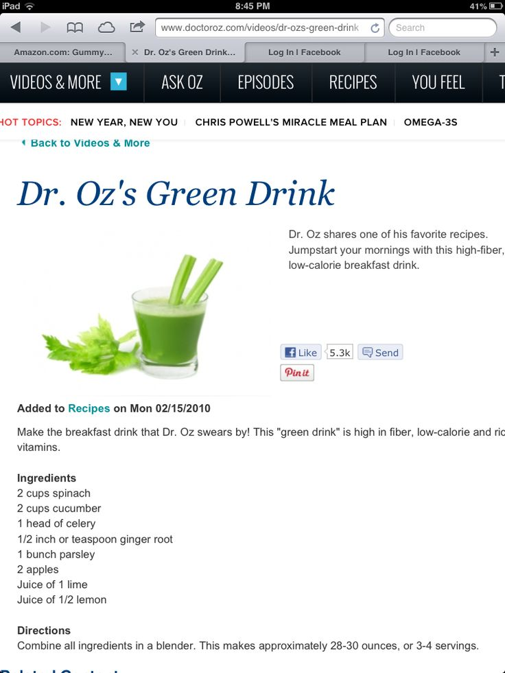 Dr oz. green drink. http://www.doctoroz.com/videos/dr-ozs-green-drink
