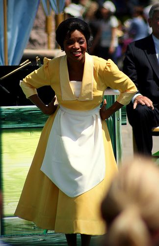 Waitress Tiana in Disneyland!  My friend Lizzi was lucky enough to see Tiana like this for a special event. I didn't even know the parks had this dress!