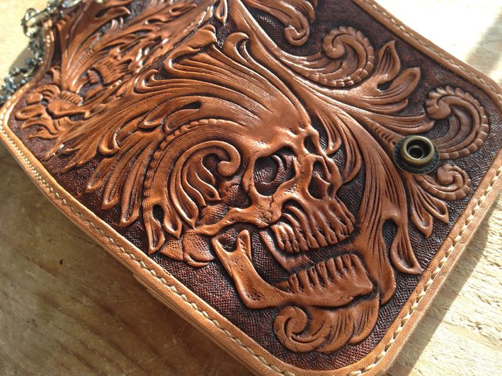 Tattoo inspired skull hand tooled leather craft