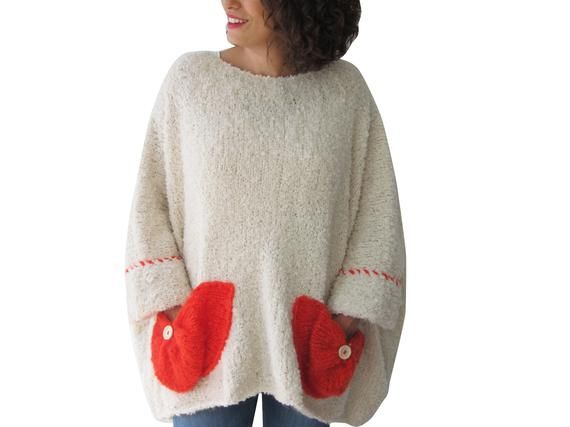 Plus Size Sweater, Plus Size Wool Jumper, Off White-Red Pockets, Plus Size Wool Sweater 3