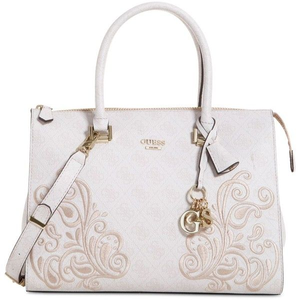Guess Arianna Medium Box Satchel ($128) ❤ liked on Polyvore featuring bags, handbags, cement, embroidered handbags, handbag satchel, white handbags, embroidered purse and embroidered bag