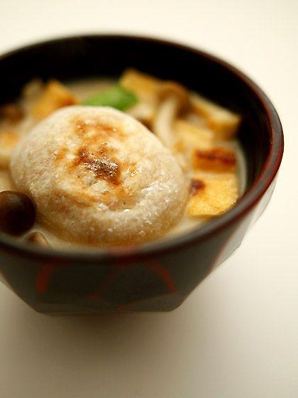 玄米餅のお雑煮(Rice-cake boiled with vegetables)