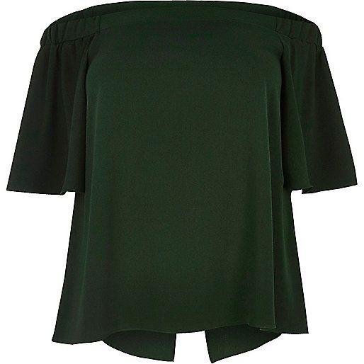 RI Plus green bardot top - bardot / cold shoulder tops - tops - women