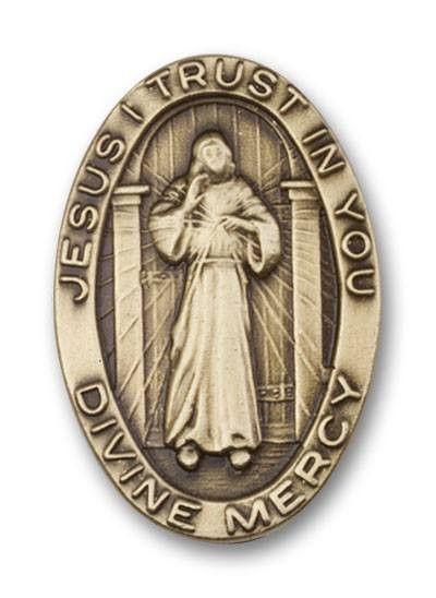 Gold Finish Divine Mercy, Jesus Visor Clip