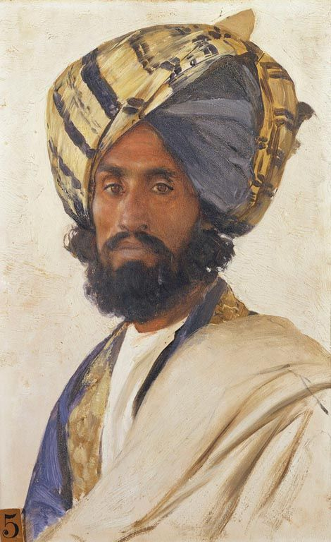 Portrait of Sher Muhammad, 1886-1888 by Rudolf Swoboda (1859-1914) | Royal Collection Trust......This is one of over 40 portraits from South Asia painted at the request of Queen Victoria. Sher Muhammad, aged 39, was the headman of a village near Rawalpindi.