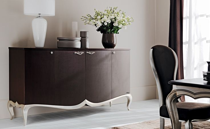 Bouquet - Bouquet | Classic Collections Le Fablier | Cupboard | Measures in cm (LxDxH) 195x53x105 | Structure in hollow-core wood panels walnut canaletto plated