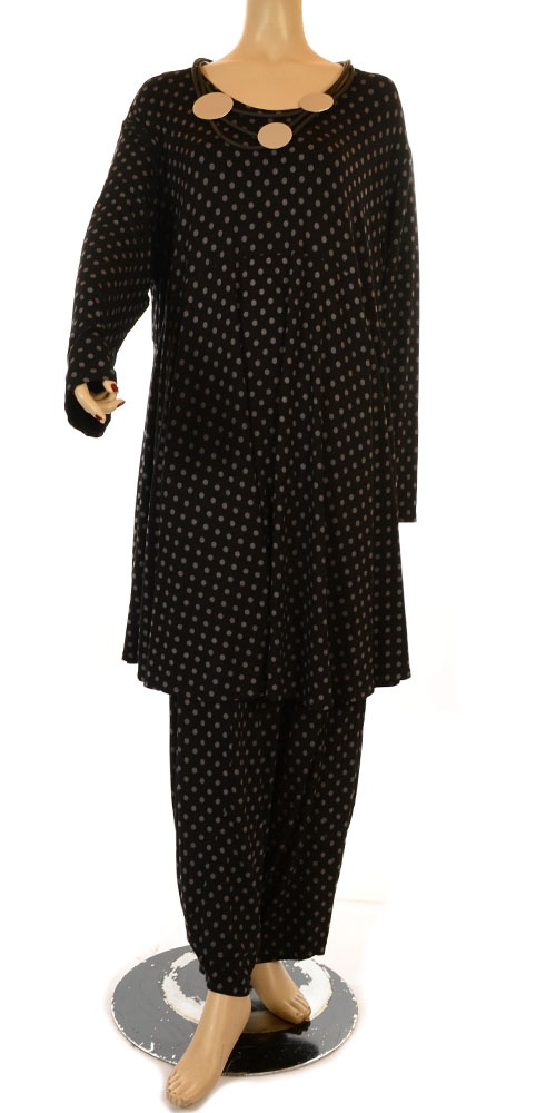 Philia Funky Black & Grey Polka Dot Jersey Trouser-Philia, lagenlook, womens plus size UK clothing, ladies plus size lagenlook fashion clothing, plus size coats, plus size dresses, plus size jackets, plus size trousers, plus size skirts, plus size petticoats, plus size blouses, plus size shirts, plus size tops, plus size tunics, lagenlook plus size fashion clothing