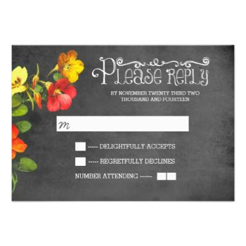 beautiful colorful painted flowers chalkboard wedding reply cards with fancy and casual fonts typography #chalkboard #rsvp #reply #response #wedding #floral #flowers #grey #red #orange #yellow #slate #vintage #old #modern #painted #casual #handwritten