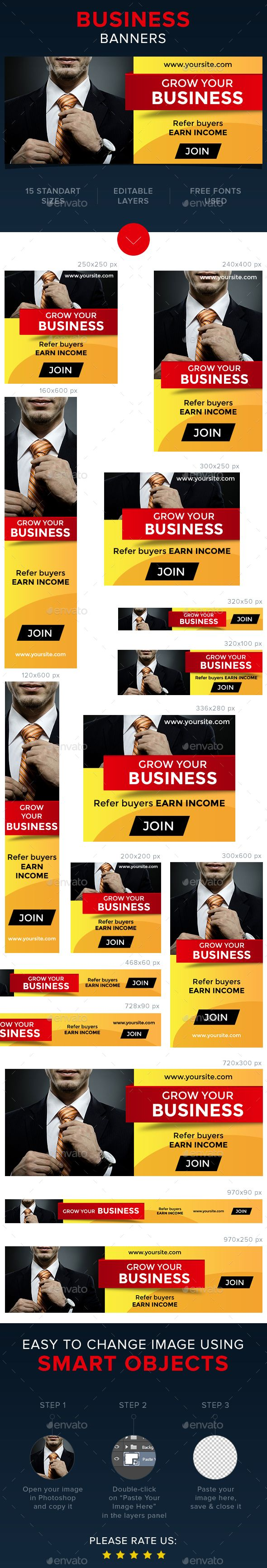 Business Web Banners Template PSD #design #ads Download: http://graphicriver.net/item/business-banners/13755172?ref=ksioks