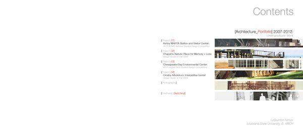 architecture portfolio table of contents